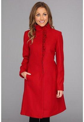 DKNY Ruffle Walker Coat (Scarlett) - Apparel