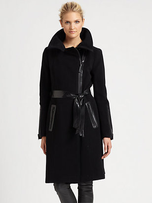 Mackage Leather-Exposed Zipper Coat