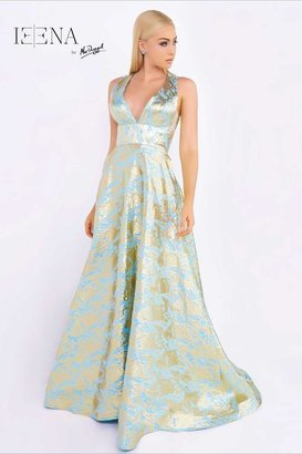 Ieena for Mac Duggal - 55128 High Neck Gown In Sky Blue/Gold