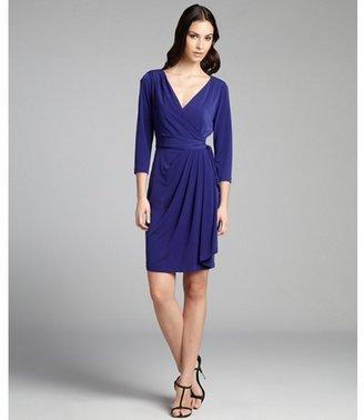 Suzi Chin grape jersey knit pleated three quarter sleeve dress