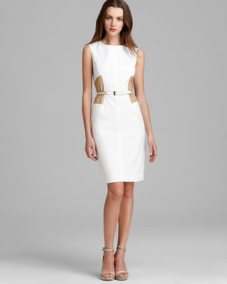Anne Klein Belted Sheath Dress - Sleeveless Color Block
