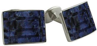 dav DAVID DONAHUE Stainless Steel & Onyx Rectangle Cufflinks