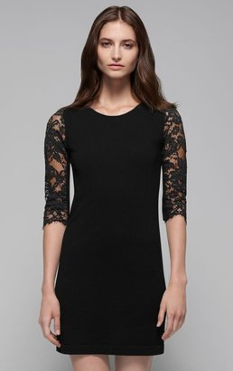 Theory Jiya LC Lace Sleeve Stretch Wool Dress