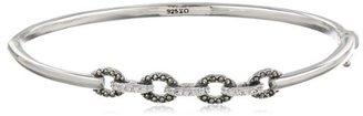 """Judith Jack Crystal Links"""" Sterling Silver, Marcasite and Crystal Bangle Bracelet, 2.7"""""""