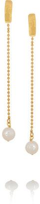 Herve Van Der Straeten Hammered gold-plated freshwater pearl earrings