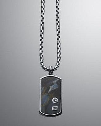 David Yurman Exotic Stone Small Tag with Pietersite on Chain