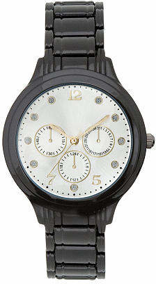 Fashion Watches Womens Silver-Tone Dial Crystal-Accent Watch