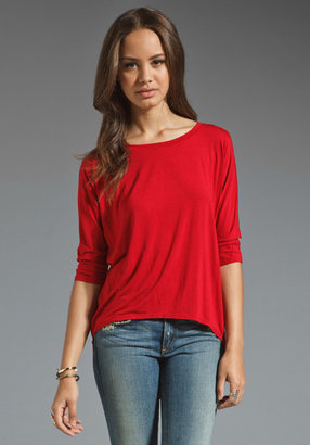 Michael Stars Essentials 3/4 Sleeve High Low Tee