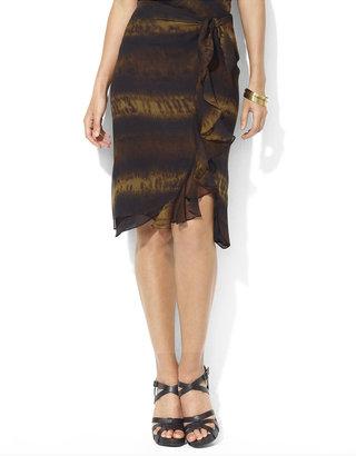 Lauren Ralph Lauren Crinkled Silk Georgette Ruffle Skirt