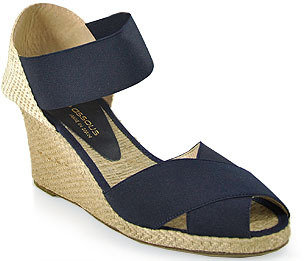 Andre Assous Erika - Elasticized Mid-Wedge Espadrille in Navy