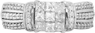 MODERN BRIDE 1 CT. T.W. Princess Diamond Engagement Ring in 10K White Gold