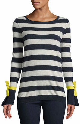 Autumn Cashmere Striped Bell-Sleeve Cashmere Sweater