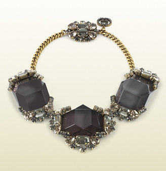 Gucci Black Resin And Crystal Necklace