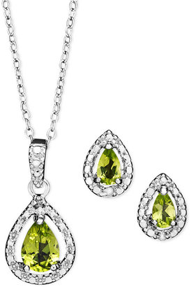 Townsend Victoria Sterling Silver Jewelry Set, Peridot (1-1/5 ct. t.w.) and Diamond Accent Teardrop Pendant and Earrings Set