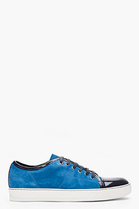 Lanvin blue two-tone patent and suede tennis shoes