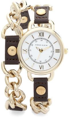 Anne Klein Wrap Around Watch with Gold Accents