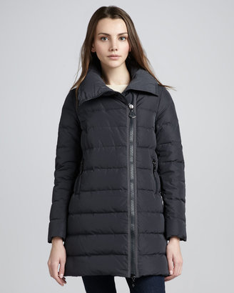Moncler Mid-Length Asymmetric-Zip Puffer Coat, Black