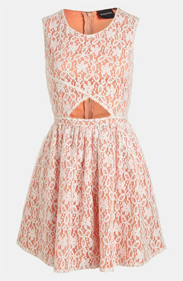 MinkPink 'Fanciful' Fit & Flare Lace Overlay Dress