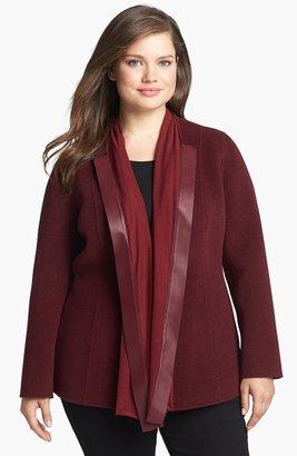 Lafayette 148 New York 'Alessa' Leather Trim Wool & Angora Jacket (Plus Size)