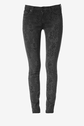 Hudson Jeans Nico Mid-Rise Super Skinny- Black Lace