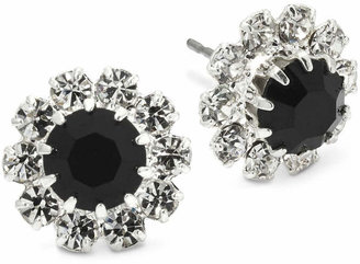 clear VIESTE ROSA Vieste Jet Black & Crystal Flower Earrings