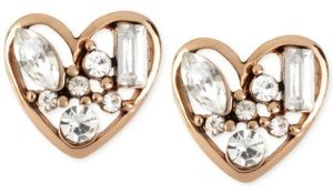 Betsey Johnson Rose Gold-Tone Crystal Heart Stud Earrings