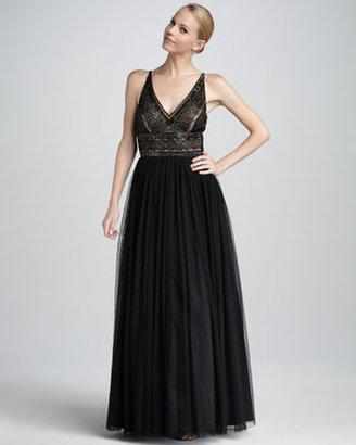Aidan Mattox Embroidered-Bodice Gown