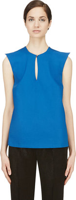 Mugler Blue Wool Peaked Shoulder Blouse $895 thestylecure.com