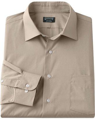 Arrow fitted solid poplin spread-collar dress shirt - men