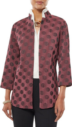 Misook Polka Dot Pleated Woven Jacket