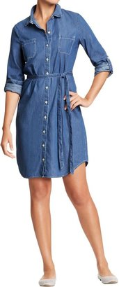 Old Navy Women's Chambray Belted-Shirt Dresses