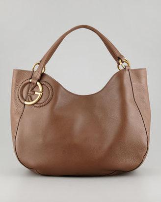 Gucci Twill Leather Large Shoulder Bag, Medium Brown