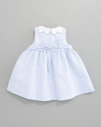 Florence Eiseman Scalloped-Trimmed Striped Dress, Sizes 3-9 Months