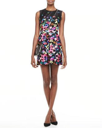 Milly Graffiti-Flower Satin Dress