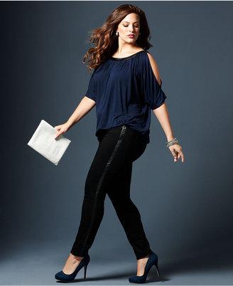 Style&Co. Plus Size Faux-Leather-Tuxedo-Stripe Skinny Jeans, Black Wash