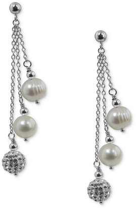 Honora Style Cultured Freshwater Pearl (7mm) and Crystal Drop Earrings in Sterling Silver