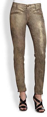 Ralph Lauren Black Label Metallic Matchstick Zipper Jeans