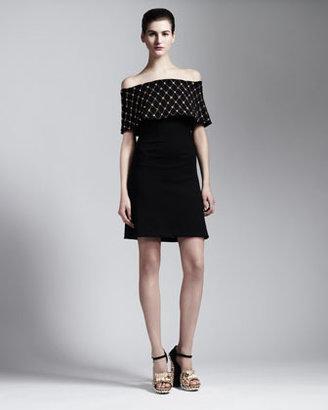 Alexander McQueen Embellished Off-Shoulder Dress