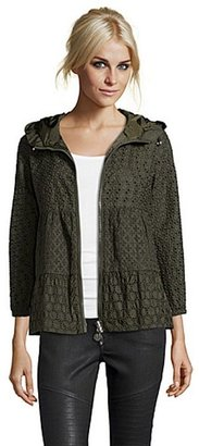 Moncler olive green eyelet embroidered 'Etain' hooded zip jacket