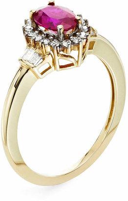 FINE JEWELRY Lead Glass-Filled Ruby & 1/4 CT. T.W. Diamond 10K Gold Ring