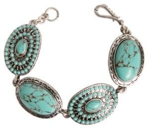 Lucky Brand Silver-Tone Metal & Turquoise Bracelet