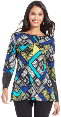 Style&Co. Petite Top, Long-Sleeve Printed Faux-Leather-Trim Tunic