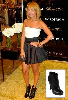 House Of Harlow Leslie Platform Bootie in Black Leather - as seen on Nicole Richie - by Shoes