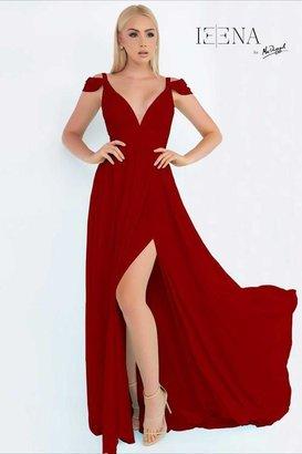 Ieena for Mac Duggal - 55099 Cap Gown In Burgundy