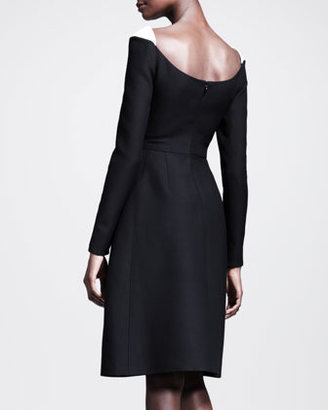 Valentino Scoop-Neck Contrast-Shoulder Dress