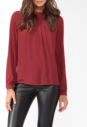 Forever 21 LOVE 21 Pleated Burnished Button Top