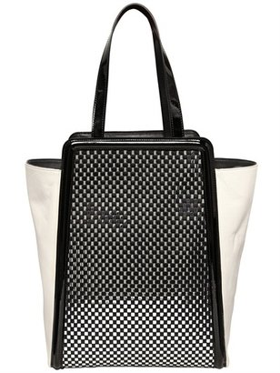 Woven Leather And Silk Tote