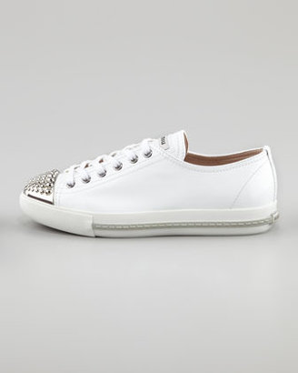 Miu Miu Studded Toe Patent Sneaker, White