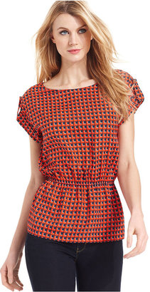 MICHAEL Michael Kors Top, Short-Sleeve Geo-Print Blouse