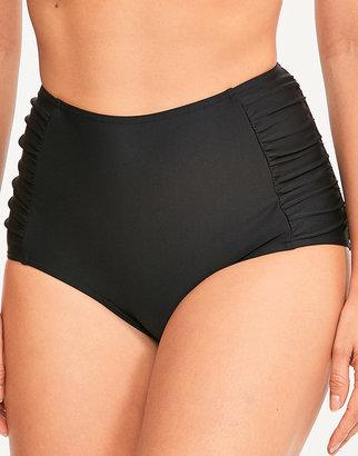 Figleaves Rene High Waisted Ruched Tummy Control Black Bikini Bottom